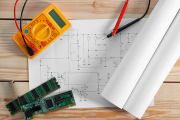 Electrical drawings with tools, top view