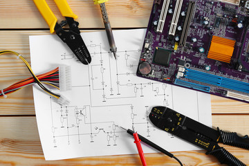 Electrical drawing with tools, top view