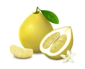 Yellow pomelo fruit on white background