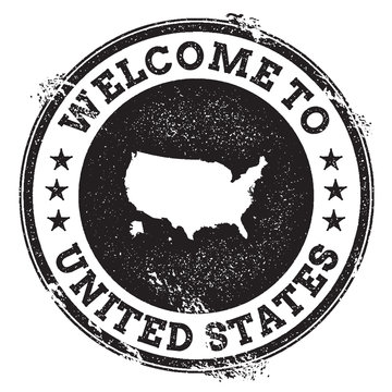 Vintage passport welcome stamp with United States map. Grunge rubber stamp with Welcome to United States text, vector illustration.