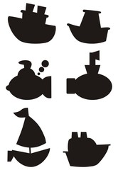 Marine ships, boats, submarines, black-and-white icons. Children, cartoon style. Vector illustration.