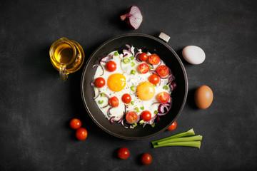 Printed kitchen splashbacks Egg Fried eggs with vegetables
