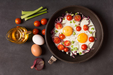 Aluminium Prints Egg Fried eggs with vegetables