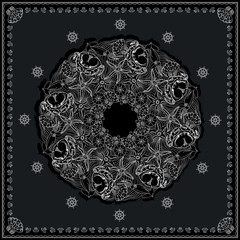Black and white marine bandana square pattern design.