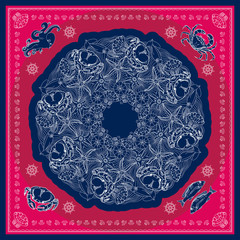 Blue and pink marine bandana square patern design.