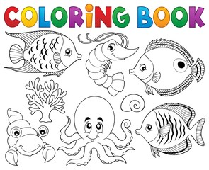 Coloring book marine life theme 2