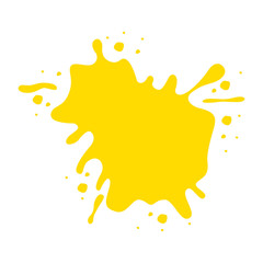 yellow paint stain isolated icon design
