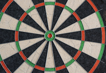 Closeup view of a professional sisal dartboard as used in tournaments. bull's eye in centre, double and treble/triple rings visible. Punctures vsible.