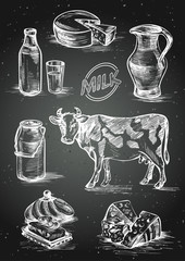 Set of images of dairy products. Cow, butter, bottle and a glass of milk, cheese head, slices, milk can, jar and label. Hand drawn chalk on blackboard vector illustration.