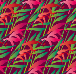 tropical flower seamless pattern in bold color. vector illustrat