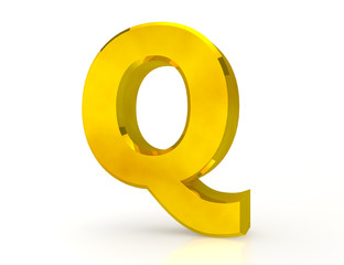 the Gold letter Q on white background 3d rendering