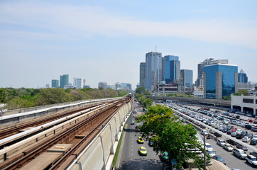 BTS or Skytrain stop receive people at Mochit station