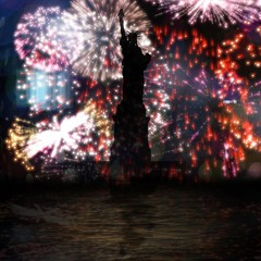 Composite image of focus on liberty statue