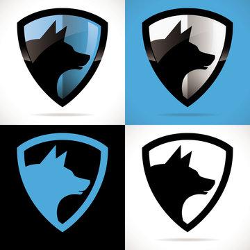 logo loup chien sécurité bouclier protection bleu