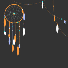 Background with dream catcher . Vector illustration.