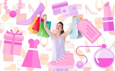 Composite image of smiling brunette showing shopping bags