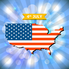 Abstract background 4th July Happy Memorial Day with American fl