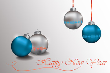 Happy New Year Sparkling baubles with snowflake ornament in silver and blue colors. Vector