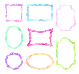 Vector doodle frames. Set of watercolor sketch geometric form border