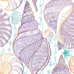 Seashell seamless pattern Underwater sea tiled background Summer marine life ornament