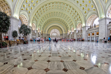 washington dc union station internal view on busy hour