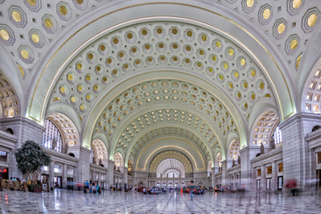 Deurstickers Treinstation washington dc union station internal view on busy hour