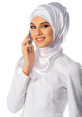 Muslim woman with mobile phone