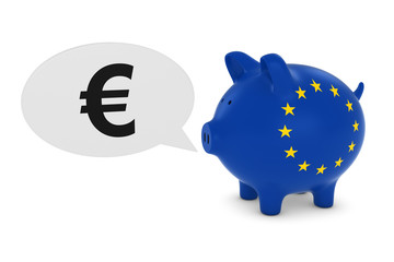 EU Flag Piggy Bank with Euro Symbol Speech Bubble 3D Illustration