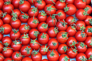 Deluxe Cherry tomatoes. Close up, Top view, High resolution product.