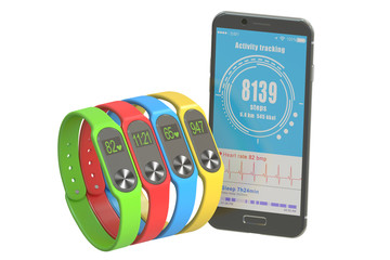 activity trackers or fitness bracelets with smartphone, 3D rende