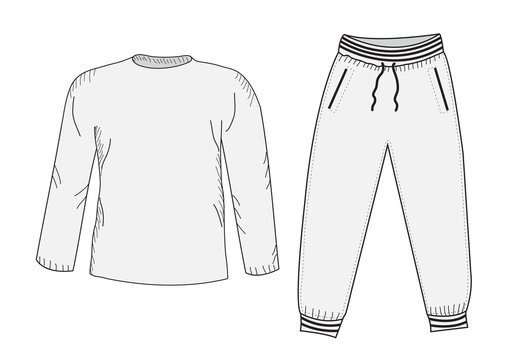 Jacket and sweatpants. Tracksuit, sketch set. Things in the style of hand drawing. Sportswear. Sports Mockup suit. Vector illustration