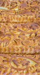 Kulebyaka cabbage pie. Russian cuisine