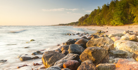 beautiful view of the Baltic Sea to the Polish town Rozewie Wall mural