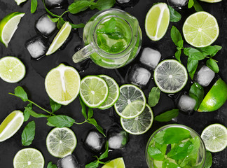 Wall Mural - Tradition summer drink mojito with lime, mint and ice