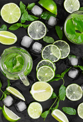 Fototapete - Limes, fresh mint and ice on old grunge black background.