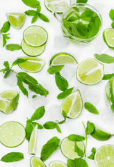 Fototapete - Limes, fresh mint and ice for mojito
