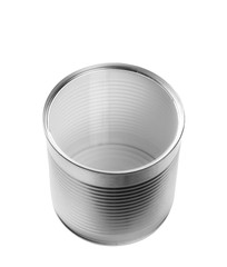 silver tin can isolated on white