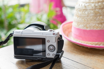 White Mirrorless Camera with farmer Hat.