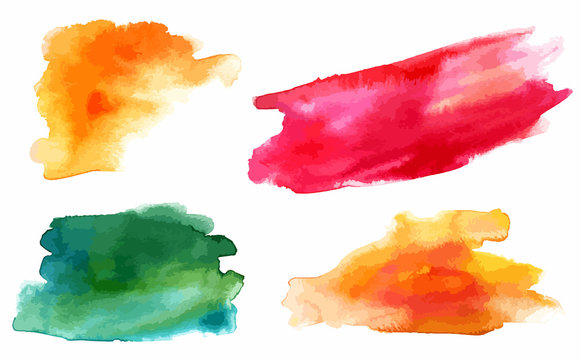 Set of vector watercolor design elements (abstract stains)