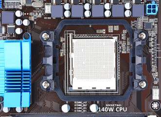 Printed computer motherboard board with microcircuit, close-up