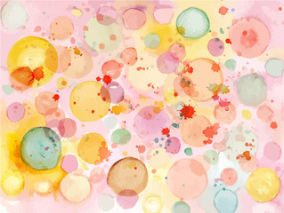 Vector watercolor background texture with pastel bubbles