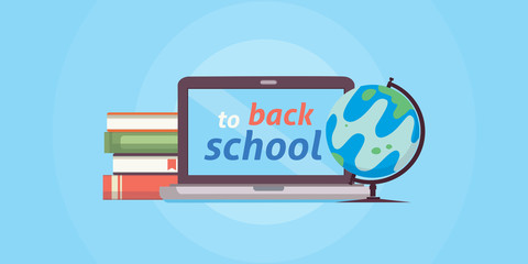 Welcome back to school, vector illustration. PC , books and globe