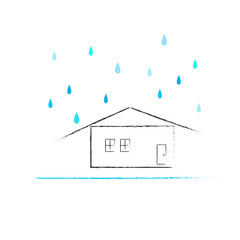 House with raining season, raining day weather forecast icon, illustration vector.