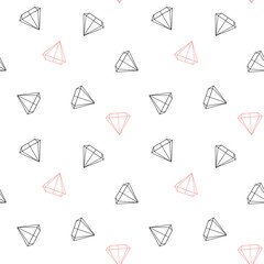 black white and pink diamonds seamless vector pattern background illustration