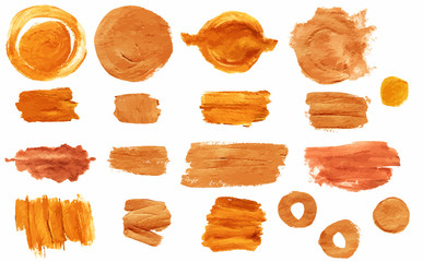 Set of many different golden brush stroke textures; vector