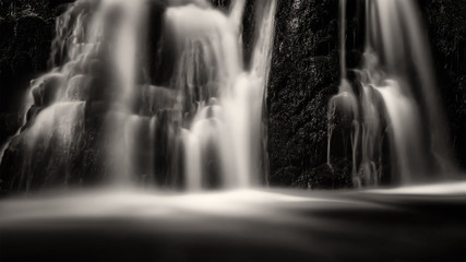 Waterfall, long exposure, Sweden, black and white