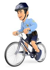3D Policeman on bicycle