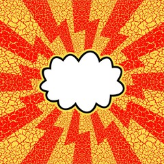 Vintage, cracked background. Pop art, comic style. Cloud with ray.