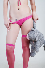 Legs of woman in stockings