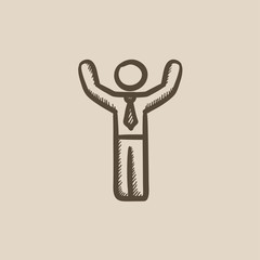 Man with raised arms sketch icon.